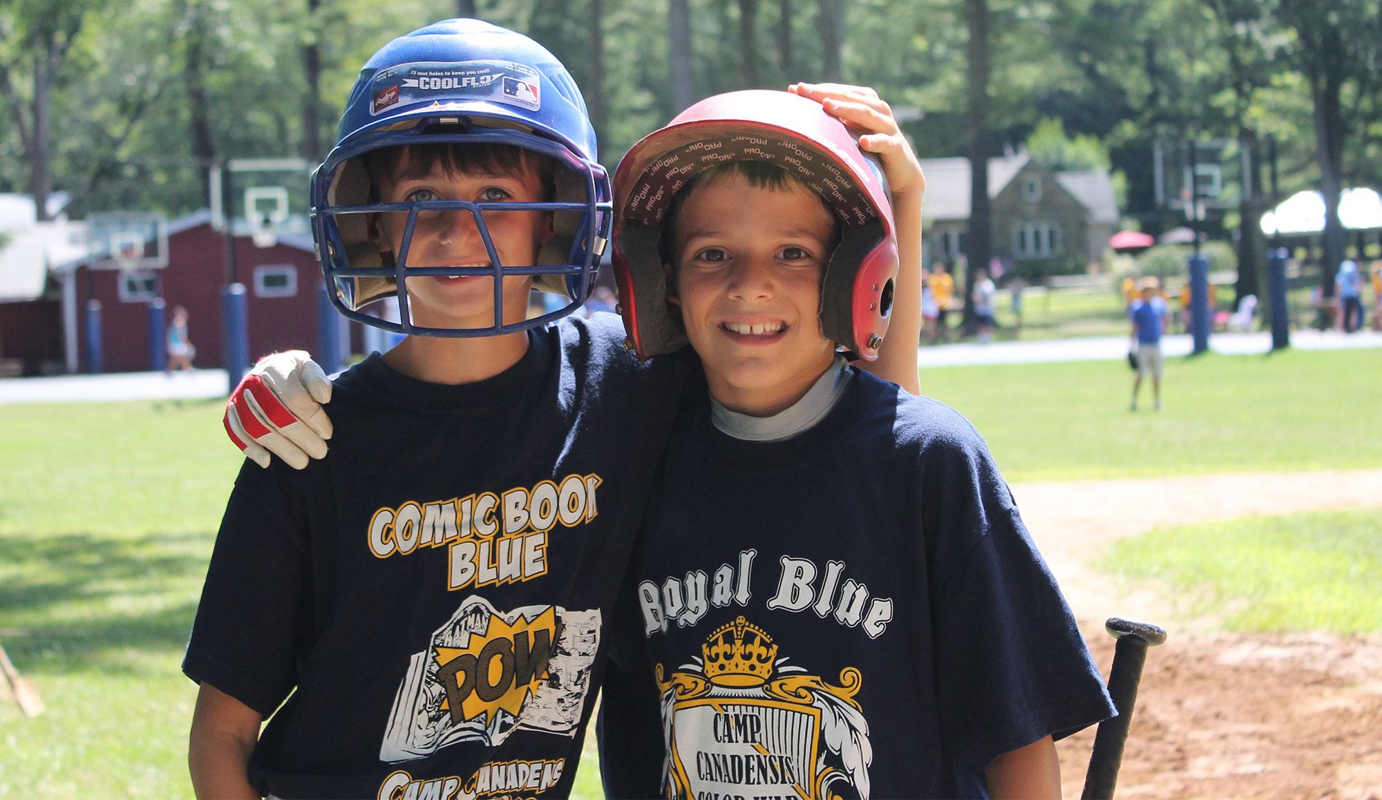Image of Boys Playing Baseball - Summer Sports at Camp
